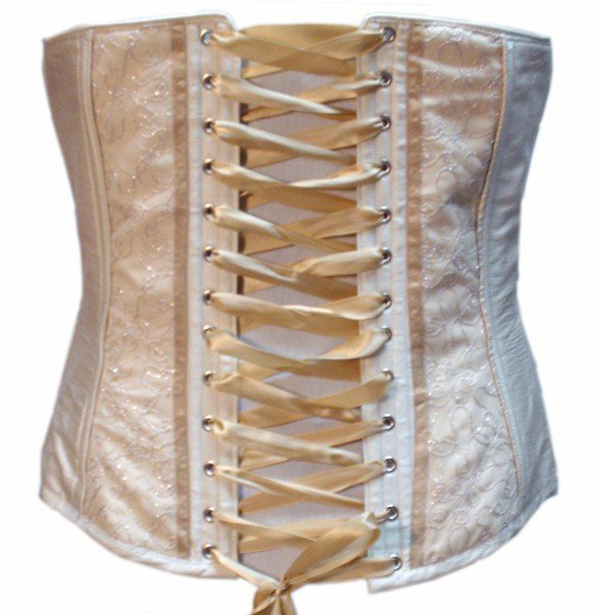 A ribbon laced corset.