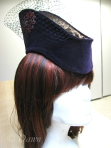 Purple faux vintage velvet millinery hat