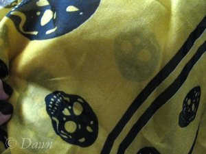 Yellow silk scarf with skulls