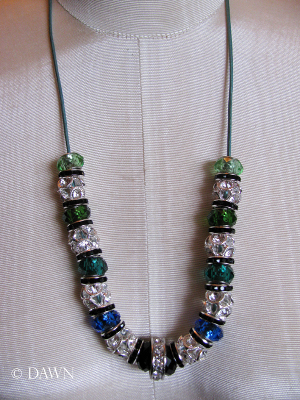 Blue and green large-hole bead necklace.