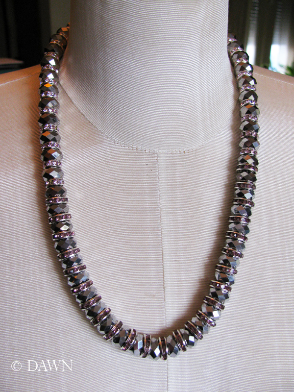 Silver and pink necklace