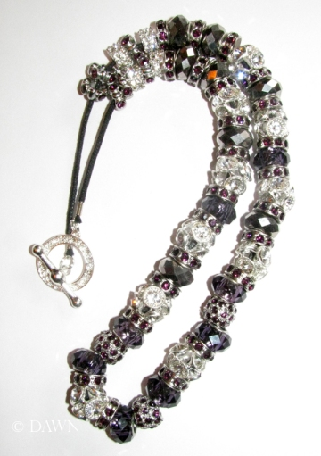 Purple & silver Bling necklace