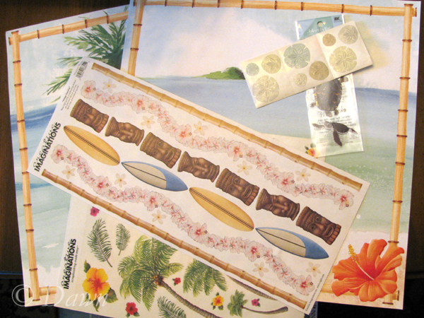 Scrapbook papers and stickers from Hawaii
