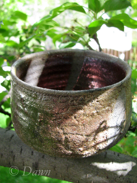 Wide Raku tea bowl with copper inside