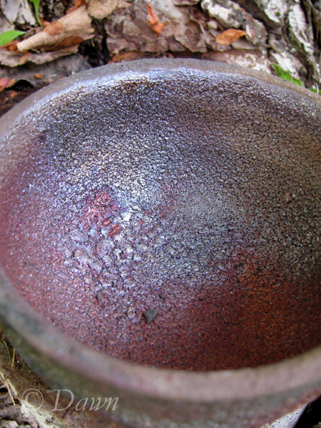 Matte multicoloured raku tea bowl