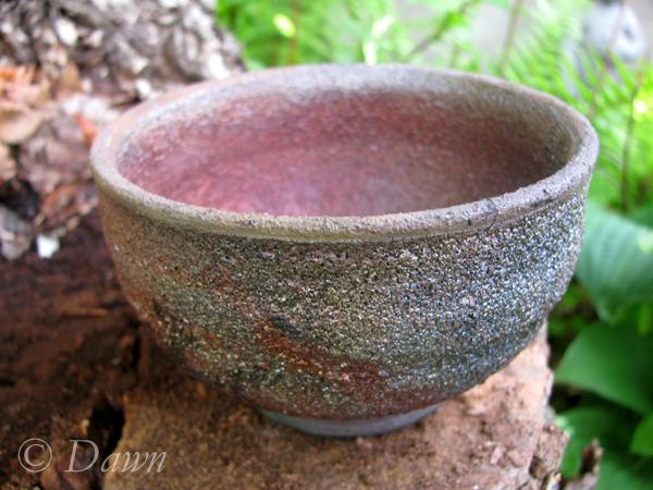 Matte multicoloured raku tea bowl