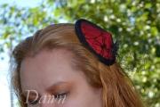 Red and black spiderweb lace fascinator