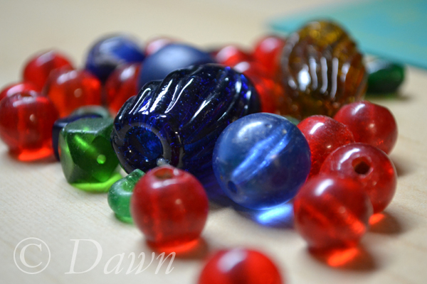 Variety of large glass beads