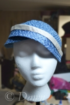 Blue straw hat -before lining and decorating