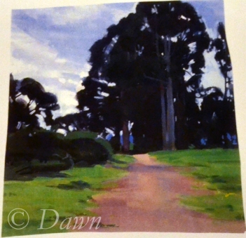 "The original ""trees and a pathway"" inspiration artwork"