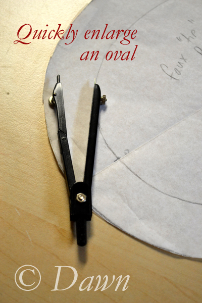 Use a math compass to quickly add an extension to an oval