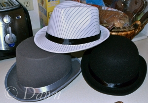 Menswear style hats  for the Mad Hatter's Tea Party - our staff holiday party