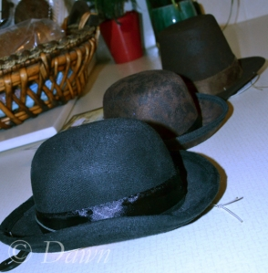 Mini top hats and bowlers for the Mad Hatter's Tea Party - our staff holiday party