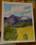 Mum's first interpretation of the 'mountains and a tree' painting