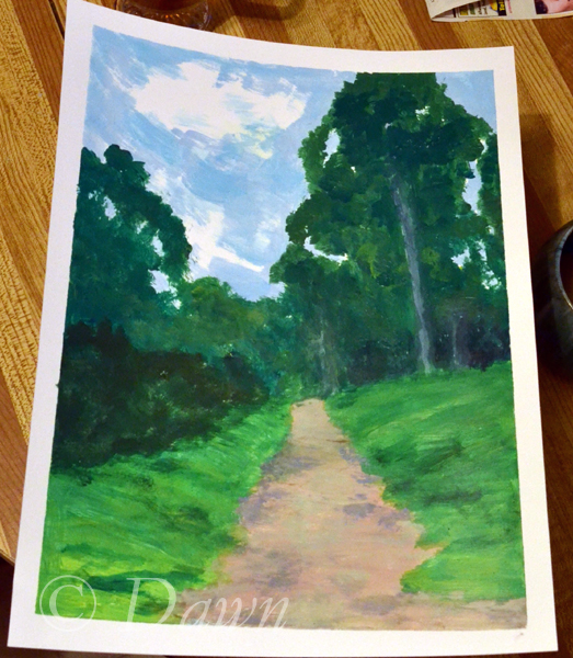 Mum's interpretation of the 'trees and a pathway' painting