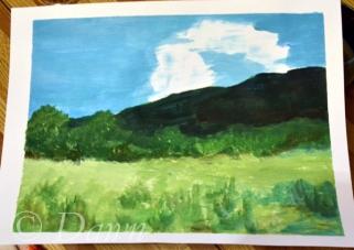 "Mum's interpretation of the ""green hills"" painting"