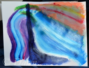 my 'playing' paper - where we first had the chance to mix colours and play around with the brushes.