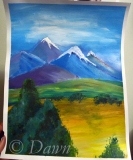 My first interpretation of the 'mountains and a tree' painting