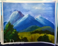 My second interpretation of the 'mountains and a tree' painting