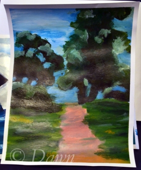 My interpretation of the 'trees and a pathway' painting