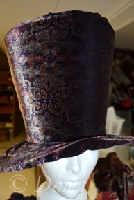 The buckram covered in the velvet fabric on a headform