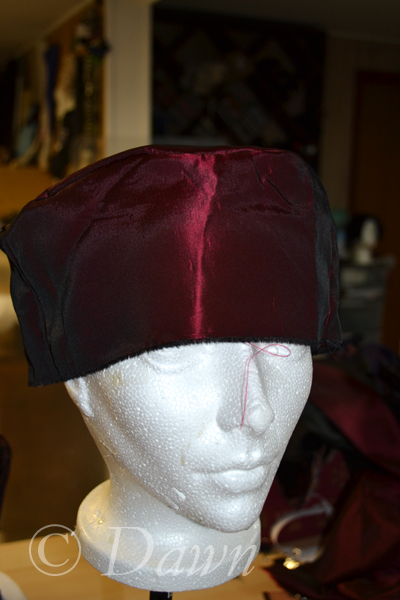The red taffeta Pillbox lining