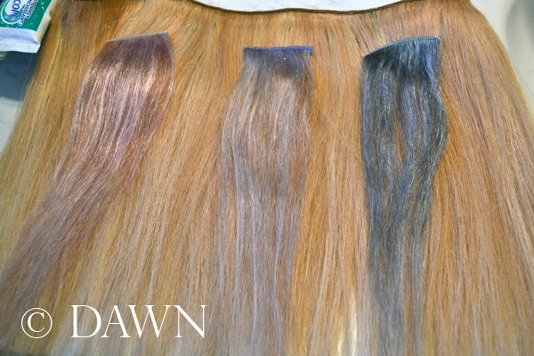 "Testing different products to get the ""white hair"" look on weft hair extensions"