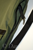 Key strap inside the green teardrop shaped backpack