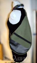 Green and black pleather teardrop shaped hand-made backpack