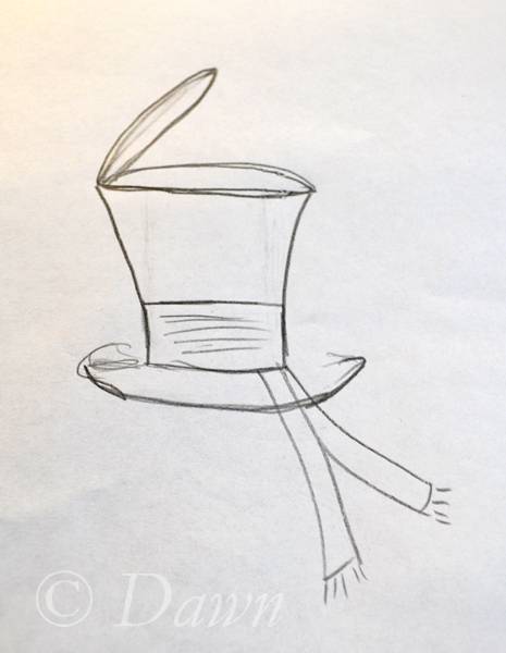 Quick concept sketch for my twisted mad hatter's hat.