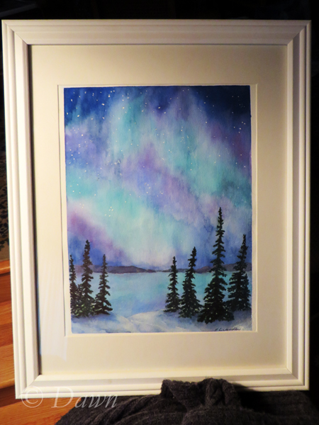 Watercolour northern lights painting by one of my favourite watercolour artists :)