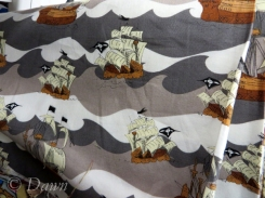 I love the pirate-ship printed quilting cotton from Marshalls