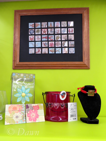 A variety of glass-tile crafts from Ben Franklin crafts in Hilo, Hawaii