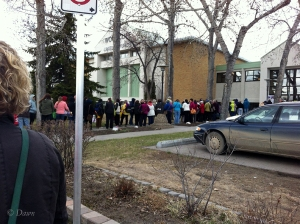 The line up to get into the Grandmother's Fabric Sale - Friday at 4:00 p.m.