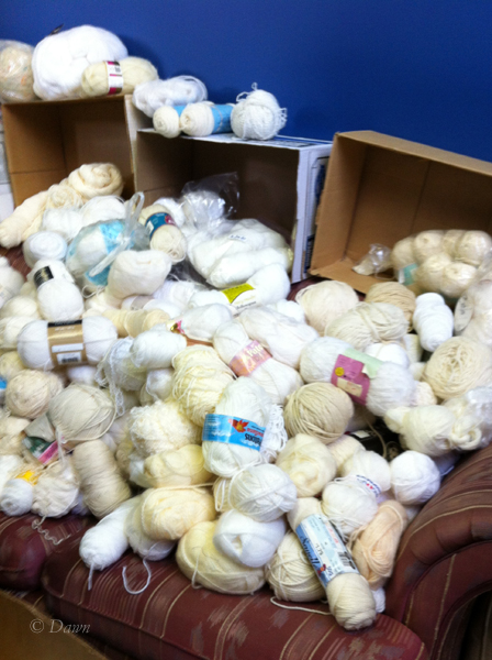 Piles of yarn in one of the rooms