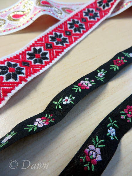 "Woven ""embroidered"" trim from the Grandmother's 2014 Fabric Sale"