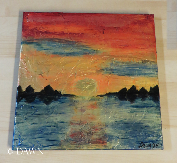 Acrylic/mixed media painting of a sunset