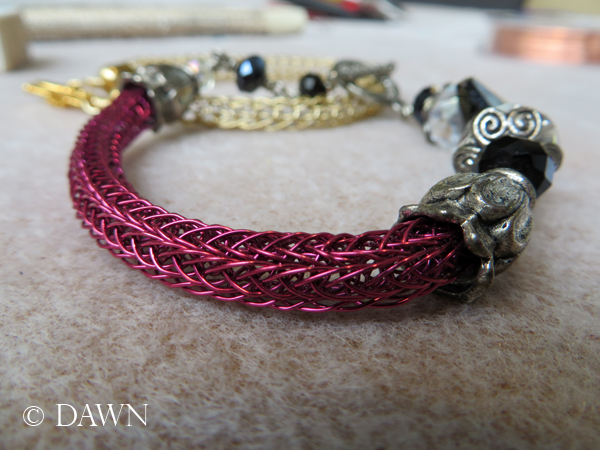 Pink double-knit Viking Knit bracelet