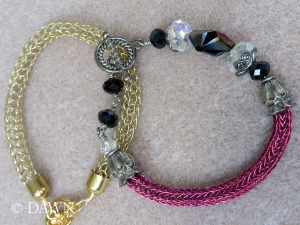 Pair of Viking Knit bracelets - one in single-knit and the other in double-knit shown by our instructor as examples