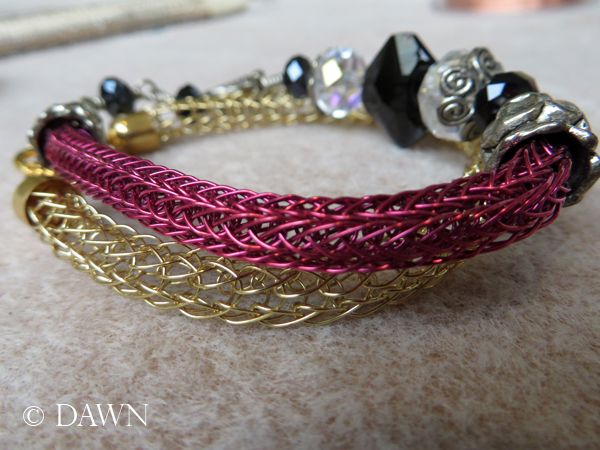 Pair of Viking Knit bracelets - one in single-knit and the other in double-knit