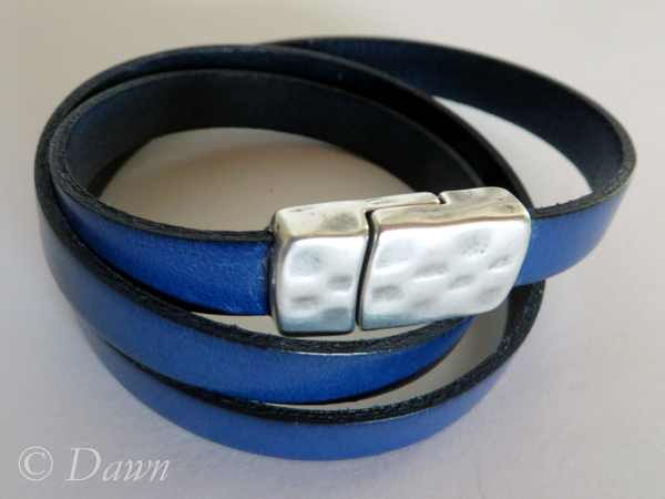 Blue and black Greek leather wrap bracelet