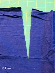 Cutting a slit for the back neckline