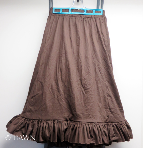 Completed t-shirt skirt - a full skirt with a wide ruffled hem, made entirely from unwanted t-shirts!