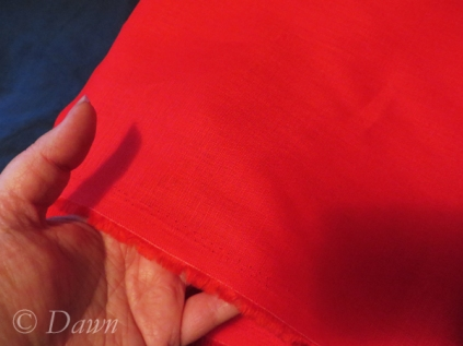 Red medium-weight linen from Fabricland