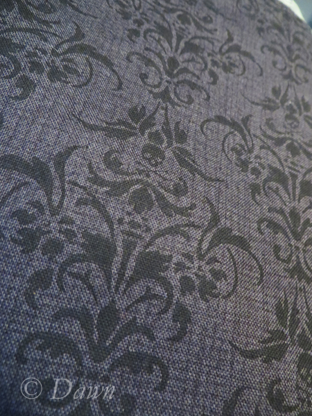 Close up of the Skull Damask from Fabrics.Com  - can you see the tiny skull & crossbones?