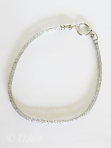 Stainless steel Viking Knit choker necklace capped with horse-head terminals and a circular spring-gate clasp.