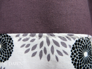 R.E.D. International Textiles flowered fabric matches really well with my hand-dyed linen