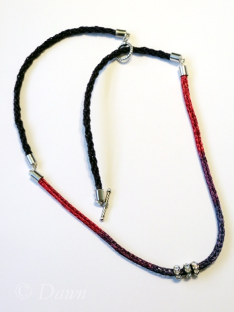 Necklace made with three-colour Viking Knit cord and cotton Kumihimo cord