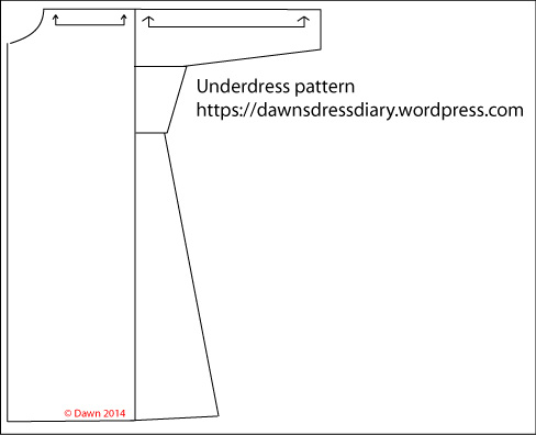 My underdress pattern (not to scale)