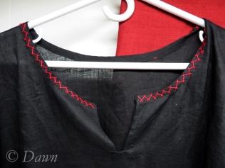 black linen underdress neckline